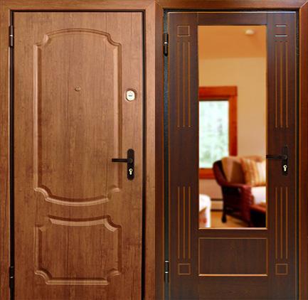 дверь с металлической филенкой